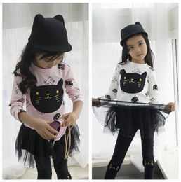 Wholesale Legging Baby Girl Black White - 2018 Spring Autumn Girls Suit Cute Cat Print White pink Sweater Black Skirt Legging Pant Baby Girl Clothes Children Set