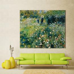 impressionismo pintura a óleo Desconto Impressionismo Pintura A Óleo Renoir Mulher Com Um Parasol Em Um Jardim Home Decor Wall Pictures Para Sala de estar Da Arte Da Lona