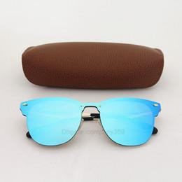 Las mejores gafas de sol del diseñador de la marca de la calidad para las mujeres de los hombres que completan un ciclo Vassl azul las gafas de sol coloridas del ojo de gato gafas de sol del sol con la caja marrón desde fabricantes