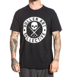 Wholesale tattoo skulls - Sullen Men's BOH Solid T Shirt Black Tattoo Skull Clothing Apparel