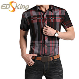 Wholesale Mens Blouse Shirts - Mens Short Sleeve Shirts Plaid Print Dress Man Social Checkered Shirt Imported Male Clothes For Slimming Blouses Brand Luxury