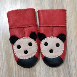 Wholesale Panda Gloves - Kid's Gloves Fur leather gloves sheepskin fur mittens children leather mitts panda winter warm
