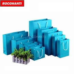 Wholesale Custom Paper Shopping Bags - 50x Custom Heavy Cardboard Paper Euro Totes Shopping Bags w  String Handles Blue Color F2124