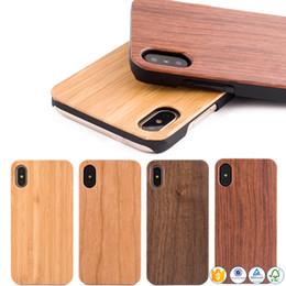 2019 étuis iphone couleur solide en plastique En gros Bambou Téléphone Cas Pour iPhone XS Max XR 8 plus 6S X 10 5s Couverture En Bois En Bois Mobile Téléphone Shell Pour Samsung Galaxy S8 S9 S7 Bord