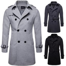 Cappotto di lana autunno inverno di alta qualità uomini cappotto doppio  petto pettinato lungo trench cappotto di grandi dimensioni cappotto uomo  casual ... 4c0a90722a3