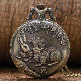 Wholesale Chinese Animal Zodiac - Auspicious Rabbit Quartz Pocket Watch Vintage Casual Chinese Zodiac Bunny Animal Plum Exquisite Necklace Chain Free Shipping