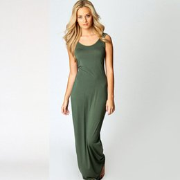 Wholesale Large Maxi Dress - Large size summer sundress Spaghetti Strap sleeveless dress 2018 plus size large o neck green beach boho long maxi dress