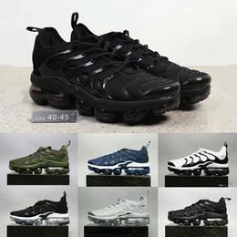Wholesale Khaki Cargos - 2018 Vapormax TN Plus Shoes Black white Cargo Khaki Men Shoes For Running Male Shoe Pack Triple Black Mens Shoes 40-45