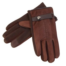 Wholesale high fashion leather gloves - 2017 Winter Men's Warm Gloves Faux Suede Leather Keep Warm Touch Screen Windproof Gloves High-quality Male's Solid