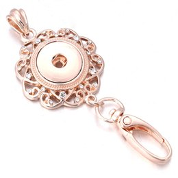 rose gold lanyard Promo Codes - Snap Jewelry 18mm Snap Keychains Rose Gold Lanyard Hook Key Chain For Women's Female Fashion keychain ZF014