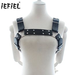 Wholesale Mens Adjustable Belts - iEFiEL Mens Adult Black PU Leather Adjustable Body Chest Half Harness Belts Fashionable inside and outside party Style Hot Sales