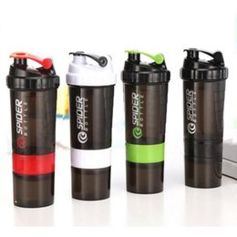 Wholesale Protein Mixer - 500ml Protein Shaker Blender Mixer Cup Sports Workout Fitness Gym Training 3 Layers Multifunction BPA Free Shaker Water Bottle Free Shipping