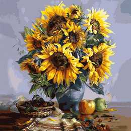Wholesale Sunflower Oil Painting Canvas - Home Decor 40x50cm DIY SunFlowers Frameless Picture On Wall Acrylic Oil Painting By Numbers Abstract Drawing By Numbers Unique