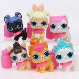 6 Pz / lotto Cartoon Pet Dog PVC Action Figure Toy Girl Polly Pocket Grandi occhi bambola divertente Sorpresa bambino Scherza il regalo DHL libero da giocattolo modello gundam fornitori