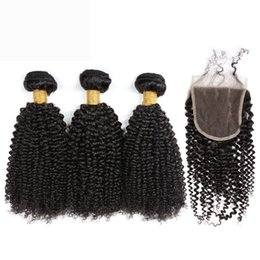 Canada Slove Rose Kinky Curly base de soie fermeture avec des faisceaux de cheveux lot de 5 pcs Remy cheveux indiens avec fermeture Weave cheap silk base closure indian remy Offre