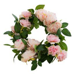Guirnaldas de decoración online-1pcs decoración de la boda de la sede artificial falso Rose vid de la flor colgante de boda de la guirnalda Decoración decorativas Flores Coronas seda Peony Vine