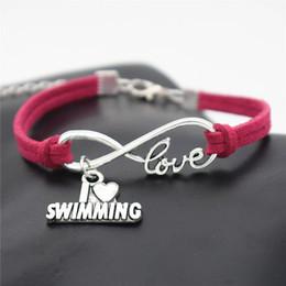 Bijoux de natation en Ligne-AFSHOR Mode Plage Accessoires Vintage Argent Antique I Love Swimming Charm Pendentif Infinity Bracelets En Cuir Amour Bijoux Cadeaux