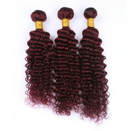 Argentina Wine Red 99J Deep Wave Hair Weft Extension 10-30 Inch Burgundy Deep Wave Curly Brazilian Virgin Human Hair Weaves 3Pcs Lot Suministro