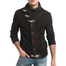 Cardigan intrecciato spessore online-2018 Europa e America caldo uomo fibbia in corno di lana spessa intrecciato collo alto maglione cardigan lungo manica spessa