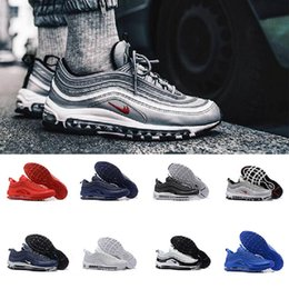 Wholesale Drop Shipping Bullet - Drop Shipping 2018 97 OG Bullet Men Newest Air Cushion Undefeated Silver Metallic Gold black Running Sports Athletic Sneakers Shoes 40-46