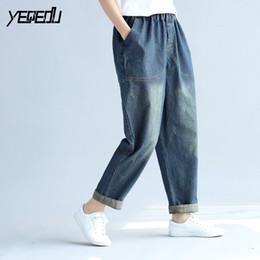 2d2a4c991446 4614 Harem jeans femmes Mode Vintage Élastique taille Grande taille rayé jean  femme Boyfriend jeans mujer Lâche pour les femmes