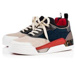 Zapatillas altas online-Alta calidad AURELIEN zapatos rojos inferiores para hombres zapatillas deportivas planas AURELIEN SNEAKERS TRAINERS regalo de boda de cumpleaños
