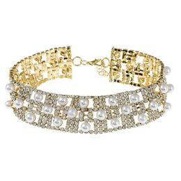 choker kostüm perlenketten Rabatt Nachahmung Diamond Pearl Choker Layered Halskette Breite Aussage Weiblichen Kragen Für Damen Party Kostüm Schmuck Weihnachtsgeschenk