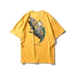 Argentina Camiseta de manga corta con estampado de algodón de los hombres vestido de pareja de estudiantes Vintage T Hawaii chaqueta de esqueleto de skate casual Street half sleeves supplier xl skeleton dress Suministro