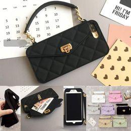 Bolsos de silicona online-Nueva moda de lujo bolsa de tarjeta de silicona suave corchete de metal bolso de las mujeres bolso de la caja del teléfono cubierta con cadena para iphone xs max xr x 8 7 6 6 s más