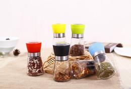 Wholesale plastic salt pepper grinders - Salt and Pepper mill grinder Glass Pepper grinder Shaker Salt Container Condiment Jar Holder New ceramic grinding bottles