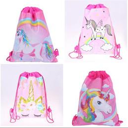 пакеты для дня рождения Скидка Единорог шнурок сумка для девочек путешествия хранения пакета мультфильм школьные рюкзаки дети День Рождения выступает 5 стилей подарки бесплатная доставка