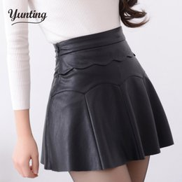 Wholesale High Waist Skirt Korean - Wholesale- 2017 Autumn Vintage Women Fashion Korean Sexy Pleated Skirt High Waist Black Red PU Leather Skirts Vintage Short Mini Skirts