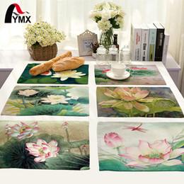 красивые цветы Скидка 42X32CM стол салфетки микс 8 стиль красивый цветок лотоса изображения обеденный стол салфетки кофе полотенце декор набор
