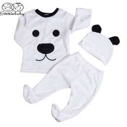 Wholesale Girls Footies - Emmababy Baby Girls Boy Long Sleeve Pullovers Top Footies Pants Hat Outfits 3PCS Set Fluffy Cute Cartoon Winter Warm Clothes