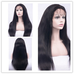Wholesale Long Hair Wigs Smooth - Top quailty long silky straight virgin human wigs Barzillian hair lace front wigs soft ang smooth for black woman blenched konts