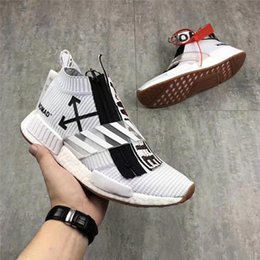 Wholesale Men White Cotton Socks - (With Box) 2018 of OF-White X NMD City Sock BA7208 Nmds Runner Men women Running Shoes Outdoor white Sneakers Training Sports Shoe 36-45