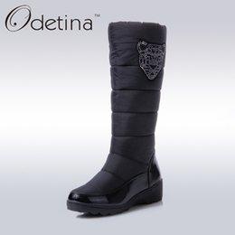 Wholesale womens waterproof boots - Odetina Platform Wedge Snow Boots Brand Womens Boots Winter 2017 Fashion Ladies Winter Shoes Women Waterproof Short Black