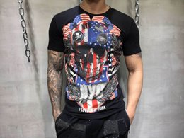 Wholesale Long Sleeve Shirts Rhinestones - 2018 Summer Mens Fashion T Shirts ear of wheat Skull Rhinestone Print Brand Clothing Man's Short Sleeve T-Shirts Plus Size Tee 82841