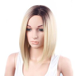 Wholesale Lace Front Heat Friendly Wigs - Stylish Wig Gold Hair Lace Front Wig Long Straight Synthetic Wigs 100% High-quality High-temperature For Women Heat Friendly
