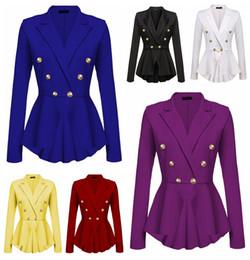 Botão americano on-line-Europeu novo cor sólida dupla fivela de metal fivela de manga longa jaqueta branca, amarela, vermelha, suporte preto lote misto