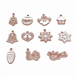 Wholesale polymer clay making - 11pcs Cartoon Animal Snowflake Biscuits Hanging Christmas Tree Ornaments Hand Made Polymer Clay Christmas Decorations for Home