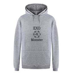 korean winter sweatshirt Promo Codes - Kpop Exo Fleece Hoodies Women Autumn Winter Korean Casual Long Sleeve Harajuku Sweatshirt Exo Fans Couple Unisex Sudadera Mujer