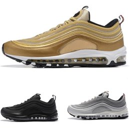 Wholesale Mens Black Tennis Shoes - Metallic Gold 97 mens running shoes Silver Bullet black women outdoor athletic Air sports sneaker tennis shoes size 36-46