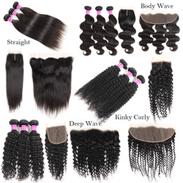 Wholesale water waves extension - New Arrivals Raw Indian Virgin Hair Straight Body Deep Water Wave Kinky Curly Human Hair Weaves Bundles With Closure Frontal Extensions Weft
