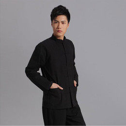Wholesale tai chi clothing cotton - coat long Long Sleeve Cotton Traditional Chinese Clothes Tang Suit Top Men Kung Fu Tai Chi Uniform Spring Shirt Blouse Coat for Men