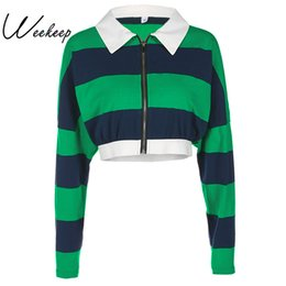 Wholesale England Women Coat - Weekeep 2017 Women Stripe Hit Color Coats And Jackets Fashion Casual Autumn England Style Jacket Casaco Turn-Down Collar Tops