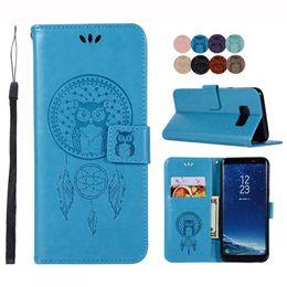 Para Samsung Galaxy Note 8 5 S9 S8 Plus S7 S6 Edge A8 Cubierta magnética de la cartera del tirón del cuero de la PU Repujado Owl Kickstand Caso desde fabricantes