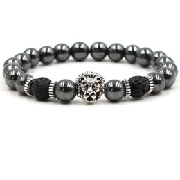 lion bracelets Coupons - Black Stone Hematite Lava Rock Bracelets Beadeds Skull Lion Owl Skull Bangles For Women & Men Gift