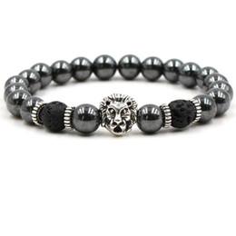 Doni gufo per gli uomini online-Black Stone Hematite Lava Rock Bracciali Beadeds Skull Lion Owl Skull Bangles per le donne Uomini regalo