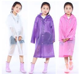 Wholesale kids rain cover - Kids Hooded Transparent Jacket Raincoats Rain Coat Poncho Raincoat Cover Long Girl Boy Rainwear 5 Colors 110*55cm